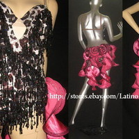 LATIN SALSA BALLROOM COMPETITION DRESS WITH HIGH QUALITY RHINESTONE M16