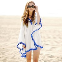 2017 Beach Cotton Cover-Ups V-neck Tunic Sarong Bathing Suit Coverups Bikini Cover Up Women Swimsuit Beachwear