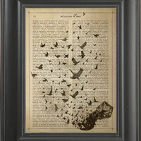 A Ink bottle turning in to birds  - Printed on the History of love page  -  250Gram paper.