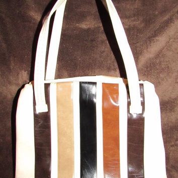 60s 70s Vinyl Multi Color Stripe Handbag / Mid Century Top Handle Purse / Off While Brown Black Beige Retro Bag