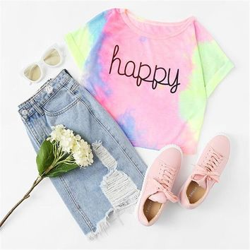 """Happy"" Rainbow Pastel Tie Dye T-Shirt"