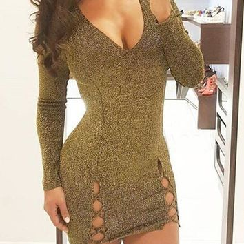 Golden Bright Wire Cut Out Lace-up Sparkly Long Sleeve Bodycon Party Mini Dress