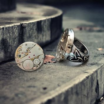 New Style Handmade Steam Punk Retro Song Special DIY Mechanical Watch Core Personalized Ring Woman Man Ring Fashion Jewelry