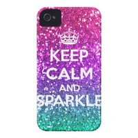 Keep Calm and Sparkle Glitter LookLike Rainbow iPhone 4 Case-Mate Cases from Zazzle.com