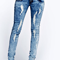 Abby High Rise Acid Wash Ripped Skinny Jeans
