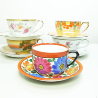 Five sets mismatched tea cups saucers - Unique party  favors - Cottage chic decor - Instant teacup saucer set collection