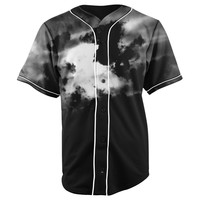 Dark Clouds Black Button Up Baseball Jersey