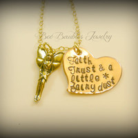 Hand Stamped Heart - Fairy Necklace - Mixed Metal Jewery - Fairy Dust necklace