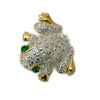 Vintage Frog Figural Brooch Pin Silver & Gold with Green Glass Eyes