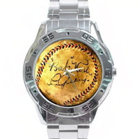 metal New York Yankees Babe Ruth Lou Gehrig signed baseball watch with box