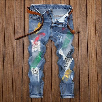 spring&summer paint fashion designer ripped jeans European American Style Streetwear Men Jeans Size 28 to 38 Pale blue man jeans