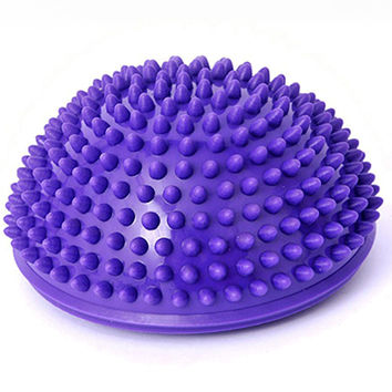 Purple PVC Inflatable Yoga Ball Massage Point Half Fitball Balance Trainer Stabilizer GYM Pilates Fitness Balancing Bosu Ball