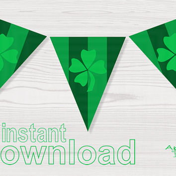 st patricks day printable banner flag with lucky clover green shamrock download immediately