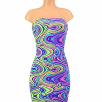Strapless Glow Worm Print Dress
