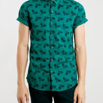 Short Sleeve Moth Print Shirt - Men's Shirts - Clothing