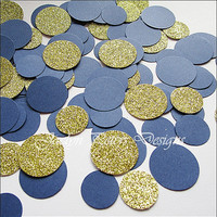 Party Confetti, Gold Glitter And Navy Blue, Nautical Theme, Table Scatter, Wedding Decor, Bridal Shower Supply, Birthday Party, 200 Pieces
