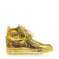 Giuseppe Zanotti Designer Shoes Gold Metallic Leather High-Top Sneaker
