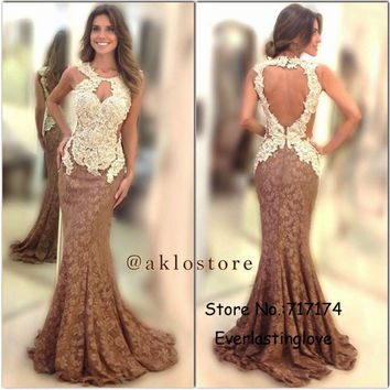 Halter Neckline Lace Applique Backless Evening Gown Mermaid Two Stones Party Dresses Long Dress Fashion Open Back Prom Dresses