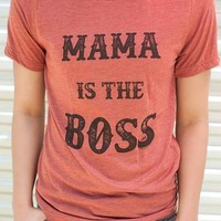 "Gina ""Mama Is The Boss"" Embelished Clay Tee"