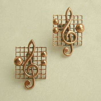 RENOIR Copper Musical Treble Clef Earrings Screw Style Vintage