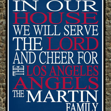 Customized Name Los Angeles Angels MLB Baseball personalized family print poster Christian gift sports wall art - multiple sizes