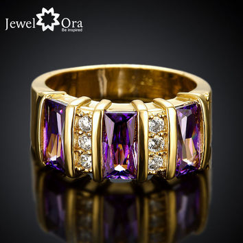 Amethyst Party Accessories Rings For Womens New Fashion Jewelry Gold Plated Crystal Ring (JewelOra RI101655)