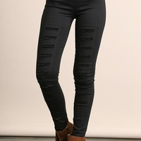 Black High Waist Distressed Jegging  (final sale)