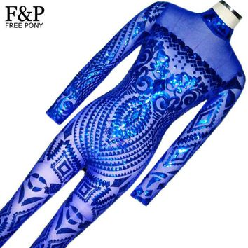 DKF4S Blue Rompers Womens Jumpsuit Romper Sexy Gold Geometric Tattoo Sequin Jumpsuit Women Long Sleeve Sequined Women Bodysuit Catsuit