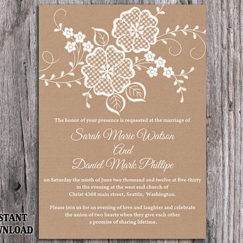 Best burlap wedding invitation products on wanelo diy lace wedding invitation template editable word file download printable rustic wedding invitation burlap vintage floral solutioingenieria Gallery