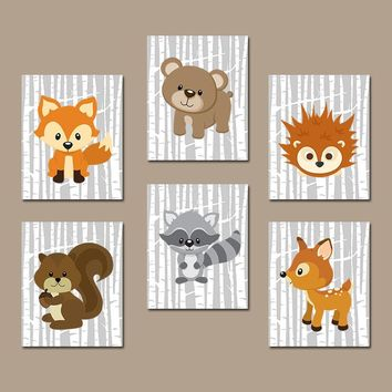 WOODLAND Nursery Art, Woodland Wall Art, Birch Wood, Forest Animals Decor, Deer Squirrel OWL Raccoon FOX, Canvas or Prints, Set of 6