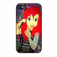 Ariel Little Mermaid Tattoo With Flower Cover iPhone 4 Case