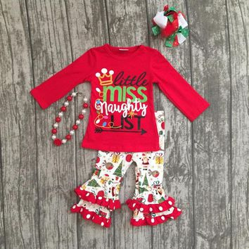 "4PC Girls ""Little Miss Naughty List"" Boutique Outfit"