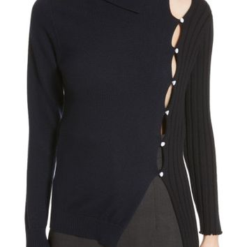 Jacquemus Asymmetrical Button Front Turtleneck Sweater | Nordstrom