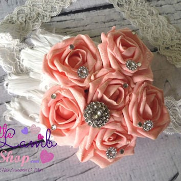 Peach Sparkle Over the Top Sash, Baby Headband, Maternity Sash, Bridal Sash, Floral Wrap, White Feather headbands photography props - Canada