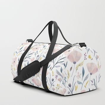 Delicate Pastel Flowers Duffle Bag by noondaydesign