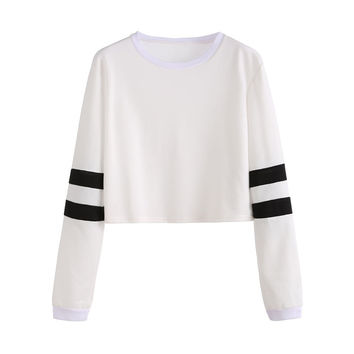 Womens Long Sleeve Tops Korean Fashion Winter Tops for Women Clothes Varsity Striped Sleeve Crop T-s