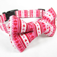 Designer Dog Collar and bow tie - Pink and White Heart Stripes - Valentines day collar, Cute Dog COllar