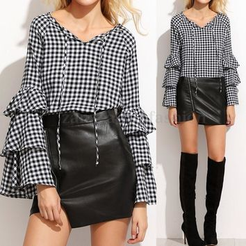 ZANZEA Women V Neck Long Bell Sleeve Plaid Checked Loose Plus Shirt Tops Blouse