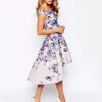 True Violet Printed Off Shoulder Prom Dress With High Low Hem