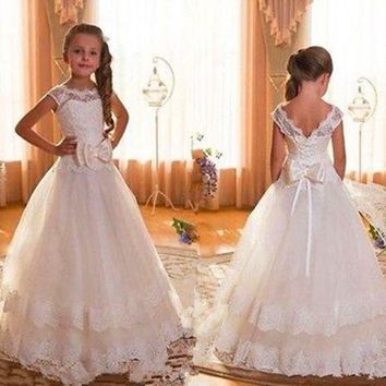 Cheap Cap Sleeve Backless Ivory Lace Flower Girl Dresses For Weddings 2017 Bow Floor Length First Communion Dresses For Girls