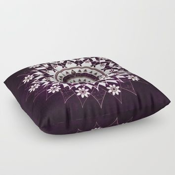 Glowing Essence Flower Mandala On Deep Purple Floor Pillow by inspiredimages