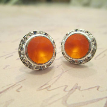 swarovski crystal stud earrings orange matte Emily dazzlers. #302