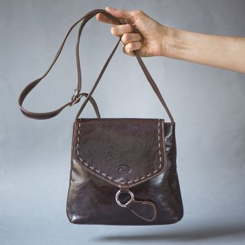 Dark Brown Cross Body Bag Italy made. Women's Bag Purse Genuine Leather. Tooled Horse Logo Shoulder Bag. Saddle Bag Style Bag Preppy Brown