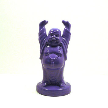 ceramic buddha figurine, purple, upcycled figurines, zen, buddhist, spiritual, statues, pop art, funky