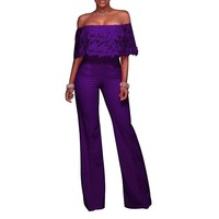 Casual Purple Wide Leg Ruffle Lace Business Suit Jumpsuit