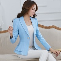 2017 Spring Fashion Women Suit Jackets Female Slim Office Bazer Single Button Suit Jacket