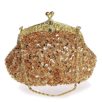 Gold bridal beaded clutch purse-Sequin wedding clutch purse-evening bag-hand made