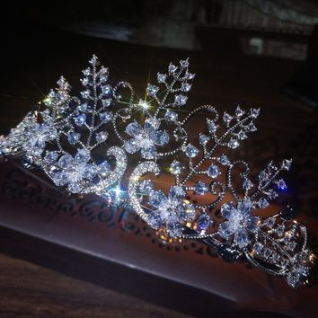 Sparkling Flower Leaves Bridal Cubic Zircon Tiaras Crowns Wedding Cosplay