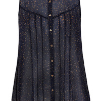 Navy And Gold Sleeveless Star Print Shirt With Dipped Hem