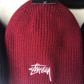 Stussy Smooth Stock Knit And Pom Hat Cap